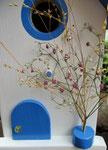 """Houten Nestkastje , """"Nestkastje in Grieks blauw, Details, Vogelhuisje bouwen , vogelhuisje in Grieks blauw, Huisjes details_8"""