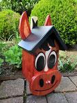 """Houten Nestkastje , """"Nestkastjes in vorm van Paard , Details, Vogelhuisje bouwen , de zijkant"""