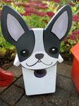Houten Nestkastje Hond, zwart-wit, Details, Vogelhuisje bouwen, voorkant, eindresultaat_1