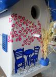 """Houten Nestkastje , """"Nestkastje met Grieks Bistrootje , Details, Vogelhuisje bouwen , vogelhuisje met Grieks Bistrootje, Huisjes details_10"""