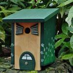 Houten Nestkastje, Nestkastje woudgroen met plat Dak, Details, Vogelhuisje bouwen, vogelhuisje woudgroen met plat dak