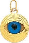 Pendentif oeil or jaune 18 carats.