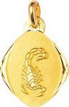 Signe du zodiaque, scorpion, or jaune 18 carats.