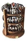 Drehsäulendisplay im Vintage-Wood-Look für 63 Armbänder- / Uhren  (Bodendurchmesser: ca 40cm | Höhe: ca. 45cm)