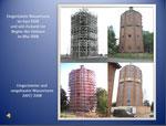 Die Bilder zeigen die Wandlungen des Turmes in Verlauf von ca. 85 Jahren