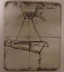 Barlachs Skizze mit Maßen für die Hängung des Schwebenden im östlichen Joch der Nordhalle des  Doms zu Güstrow