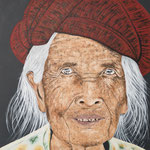 Old Lady Bali Acryl op doek 100 x 100 cm Prijs op aanvraag