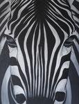 Close-up Zebra Acryl op doek 60 x 80 cm Prijs op aanvraag