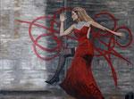 Model Nicole Acryl op doek, verkocht