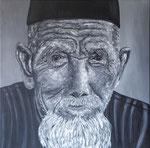Oude man Java Acryl op doek 100 x 100 cm Prijs op aanvraag