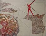 Balance (Collage/Holzschnitt, Faden, Japanpapier, Ölfarbe, 80 cm x 100 cm, 2010