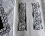 Blackworkstickerei am Smock (Unterhemd) aus Leinen