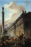 マルクス・アウレリウス騎馬像、トラヤヌス記念柱、神殿の見える空想のローマ景観(表)