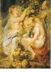 豊穣の角を抱えるケレスと二人のニンフ