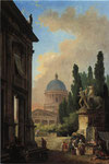 モンテ・カヴァッロの巨像とサン・ピエトロ大聖堂の見える空想のローマ景観(表)