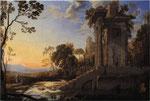 廃墟と羊飼いを伴う風景(表)