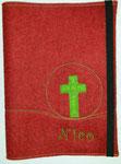 GLH rotmeliert ohne RV Kreuz grün und Namensbeispiel
