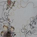 sans titre, gravure, fils, stylo, transfert, sur toile, 40 x 40 cm CHF 550.-