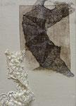 sans titre, gravure, dentelle, stylo sur toile, 25 x 36 cm CHF 450.-