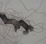 sans titre, gravure, fils, stylo sur toile, 40 x 40 cm CHF 550.-