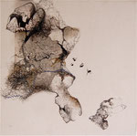 sans titre - 2011 - gravure, stylo, fils sur toile, 30 x 30 cm, CHF 450.-