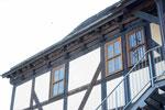 183 Mehlschwalbennester an den Häusern des Wasserschlosses