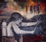 Collage, Öl auf Leinwand, 115 x 100 cm
