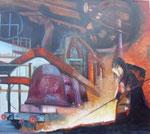 Collage, Öl auf Leinwand, 90 x 70 cm