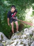 Abseilkurs am Bergspinnenturm. Pedro Salisch hing gut durch!
