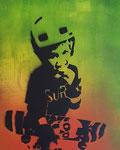 """Surf"" 40 x 30 x 3,9 cm, Acryl/Öl/Stencil auf Leinwand"