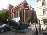 Blick von der Schweinebrücke auf St. Nikolai in Wismar
