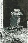 Steine vor der Zendo-Halle, Haus der Stille, Roseburg