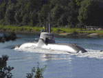 U-Boot auf Probefahrt im NOK von Kiel kommend