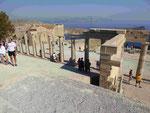 Blick von der Akropolis von Lindos, Rhodos, Griechenland