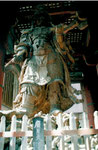 Ein hölzerner Nio-Tempelwächter von Unkei im Todai-ji Tempel, Nara, Japan