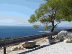 Blick von der Insel Thassos auf den Berg Athos
