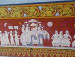 Wandmalerei mit dem Transport der Zahnreliquie des Buddha auf einem Elefanten, Kandy, Sri Lanka