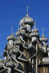 Espenholzschindeln einer russischen Kirche am Ladogasee, Russland