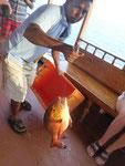 Fischfang nach einer Haifütterung im Süd Male Atoll, Malediven