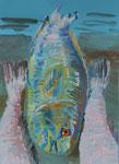 Gouache: Seychellen -Blauer Fisch
