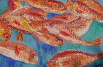 Gouache: Muscat, Oman - rote Fische