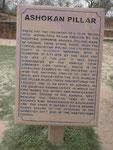 Hinweis auf die Ashoka Säule in Sarnath, Indien