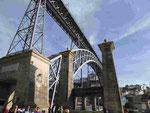 Die Stahlkonstruktionsbrücke eines Schülers von G. Eiffel in Porto, Portugal