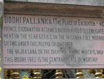 Tafel mit Hinweis auf den Platz von Buddhas Erleuchtung