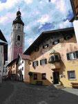 Lüftlmalerei am Hotel in Kastelruth, Südtirol