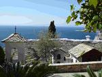 Blick vom Nonnenkloster Erzengel Michael auf den Berg Athos