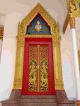 Tür im Wat Puttamongkon in Phuket-Town, Thailand
