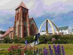 Hauptkirche mit Walknochen  in Port Stanley, Falkland Islands, U.K.