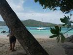 Katamaran bei Curieuse, Seychellen