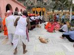 Warten auf das Betreten des Mahabodhi Tempels von Bodhgaya, Indien